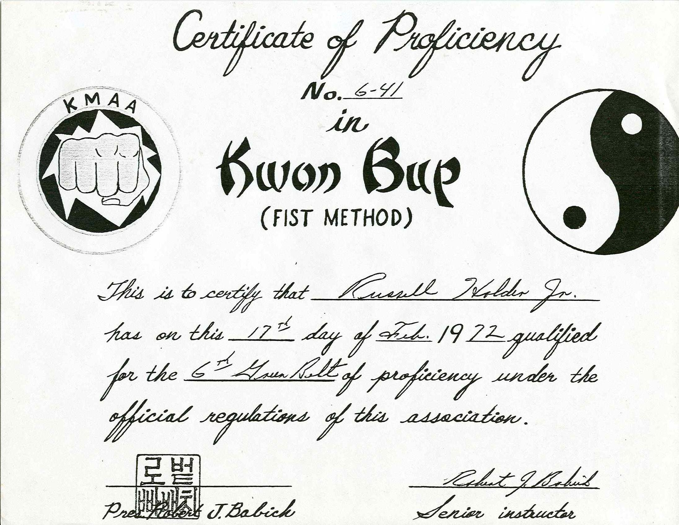 Kwon Bup, the Fist Method<