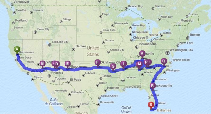 160301BikeWeekRoadTripIndexMap to Key West