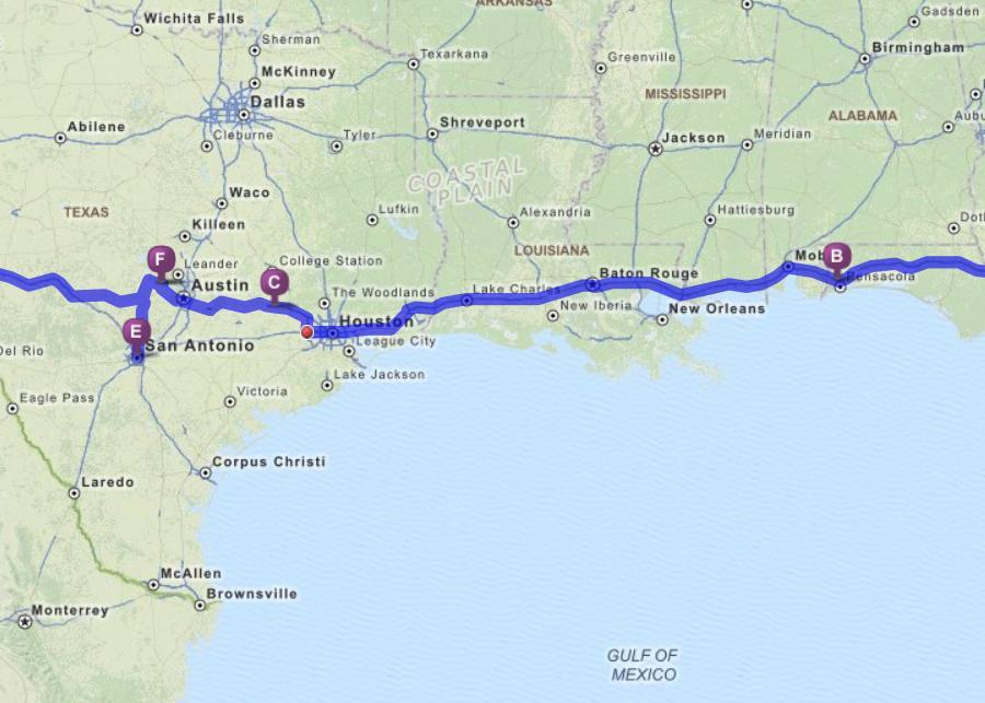 Pensacola FL to Austin TX